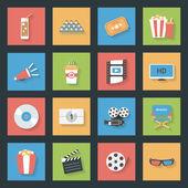 Cinema flat icons set — Stock Vector