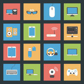 Computers, peripherals and network devices flat icons set — Stock Vector