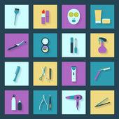 Beauty salon flat icons set — Vettoriale Stock