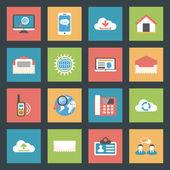 Communication icons set flat design — Vector de stock