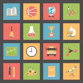 School flat icons set — Stock Vector