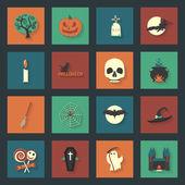 Halloween flat icons set — Stock Vector