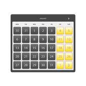 Calendar January 2014 — Stock Vector