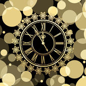 Golden clocks with snow — Vettoriale Stock