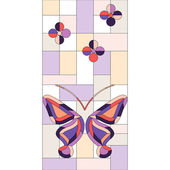 Abstract stained glass window with butterflies — Vector de stock