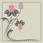 Καρτ ποστάλ με αφηρημένες λουλούδια — Vector de stock