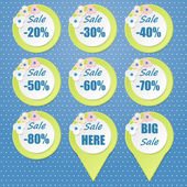 Big Sale tags with Sale up to 20 - 80 percent text — Stock Vector
