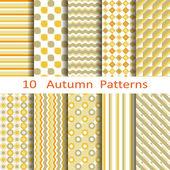 Set of ten autumn patterns — Stock Vector