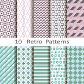 Set of ten retro patterns — Stock Vector