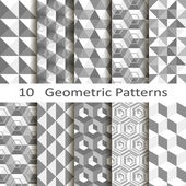 Set of ten geometric patterns — Stock Vector