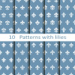 Set of ten patterns with lilies — Stock Vector #51018877