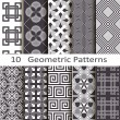 Set of ten geometric patterns — Vector de stock