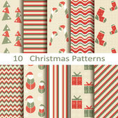Set of ten Christmas patterns — Vecteur