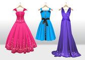 Woman beautiful dresses on hanger — Stock Vector