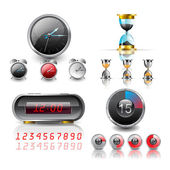 Different clocks and stopwatch detailed vector set — Stock Vector