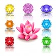 Lotus and Seven chakras — Stock Vector