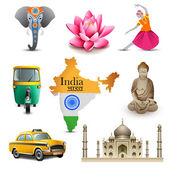 India travel set icons, vector — Stock Vector
