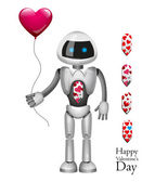 Robot With Balloon Heart. Vector — Stock Vector