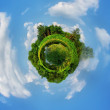 Little planet panorama whit cloud, forest, lake and field — Stock Photo #28558297