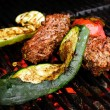 Stock Photo: Grilled beef with zucchini and tomato