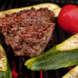 Stock Photo: Grilled beef,zucchini.,tomato.