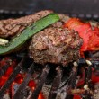 Stock Photo: Grill, beef, zucchini, tomato
