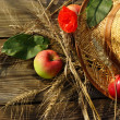 Apples, wheat ears and a straw hat — 图库照片