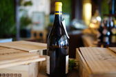 Still life with wine bottle, glass and cork — Stock Photo