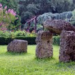 Garden and Stones looking like Stonehenge. — Stock Photo