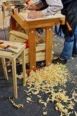 Professional carpenter makes furniture — Stock Photo