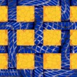 Abstract festive blue background of 12 yellow frame cells — Stock Photo