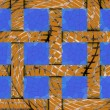 Abstract festive gold background of 12 blue frame cells — Stock Photo