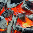 Glowing charcoal and flame in BBQ — Stock Photo #36567885