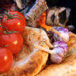 Composition with Bread, tomatoes and garlic — Stock Photo