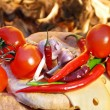 Composition with Bread, Tomatoes, Hot Chili Pepper and Garlic — Stock Photo