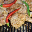 Grilled chicken legs and vegetables in BBQ cast iron Grill — Stock Photo #37019489