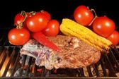 Grilled Rib steak and vegetables — Stock Photo