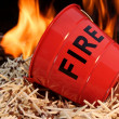 Stock Photo: Fire bucket, matches and Flames