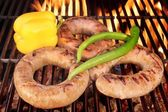 Sizzle Sausages on the Barbecue grill XXXL — Stock Photo
