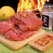 Raw Beef Steaks and Spice near BBQ Grill, XXXL — Stock Photo