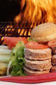Sandwiches Ingredients near BBQ Grill, XXXL — Stock Photo