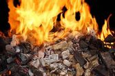 Burning Charcoal and a Bright Flame — Stock Photo