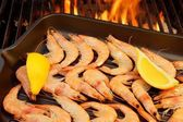 Grilled Shrimps on open BBQ fire, XXXL — Stock Photo