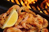Grilled  Seafood on open BBQ fire, XXXL — Stock Photo