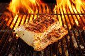 Grilled Pork Striploin and BBQ Flames,  XXXL — Stock Photo