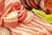 Fresh Bacon and Vegetables on the Dish, XXXL — Stock Photo