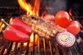 Grill Barbecue Ribs Flames Brisket Charcoal, XXXL — Stock Photo