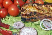 Grilled Pork Brisket and Fresh Vegetables, XXXL — Stock Photo
