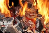 Burning Charcoal in BBQ, XXXL Close-up — Stock Photo