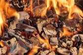 Burning Coals close-up — Stock Photo